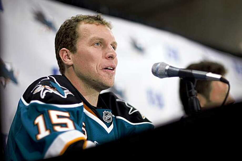 San Jose Sharks' Dany Heatley answers questions during a news conference on Friday, Sept. 18, 2009 inside HP Pavilion in San Jose.   Heatley was traded to the Sharks, along with a fifth-round pick in 2010, for forwards Jonathan Cheechoo and Milan Michalek and a second-round 2010 pick. (AP Photo/Dai Sugano, San Jose Mercury News)   ** NO SALES, MAGS OUT, NO INTERNET ** Photo: Dai Sugano, AP
