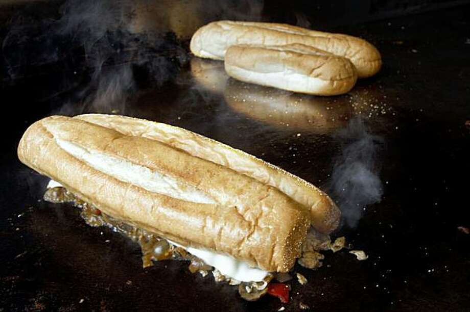 A cheeseteak being made on the grill at Phat Philly Cheesesteaks In the Mission district in San Francisco, Calif.,  on Tuesday, July 21, 2009. Photo: Liz Hafalia, The Chronicle