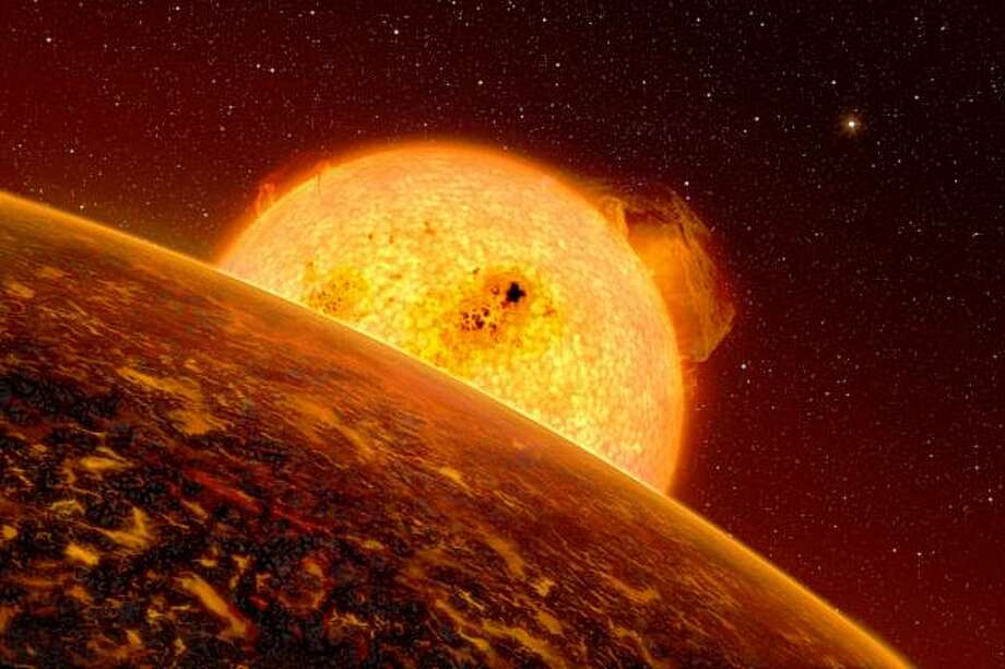 This image provided by the European Southern Observatory Wednesday Sept. 16, 2009 shows an artist rendition of the first rocky extrasolar planet called Corot-7b. European astronomers confirmed the first rocky extrasolar planet Wednesday. According to scientists the planet is so close to it's sun that its surface temperature is more than 3,600 degrees Fahrenheit, too toasty to sustain life. It circles its star in just 20 hours, zipping around at 466,000 mph. By comparison, Mercury, the planet nearest our sun, completes its solar orbit in 88 days. (AP Photo/ESO) -- MANDATORY CREDIT -- Photo: Associated Press