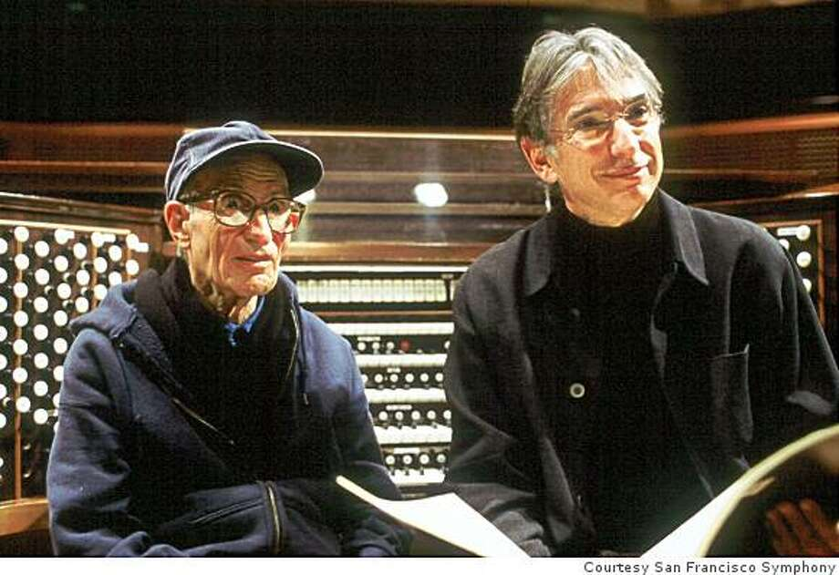 "Composer Henry Brant (left) with Michael Tilson Thomas at the world premiere of ""Ice Field"" Photo: Courtesy San Francisco Symphony"