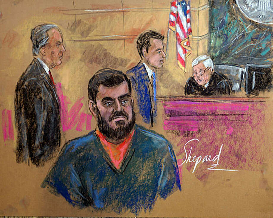 """This courtroom sketch shows Najibullah Zazi (C) with his lawyer J. Michael Dowd (L) and an unidentified attorney during the hearing in federal court on September 29, 2009 in Brooklyn, New York. Afghan-born terrorism suspect Najibullah Zazi pleaded not guilty in a New York court Tuesday to a charge of conspiracy to use weapons of mass destruction as part of an alleged bomb plot. Judge Raymond Dearie (R) ordered Zazi, 24, to be held without bail after prosecutors argued he was a flight risk and """"will pose significant danger to the community if released."""" The youthful, bearded Zazi, dressed in dark blue and orange prison garb, remained silent during the hearing. AFP PHOTO/SHIRLEY SHEPARD (Photo credit should read SHIRLEY SHEPARD/AFP/Getty Images) Photo: Shirley Shepard, AFP/Getty Images"""