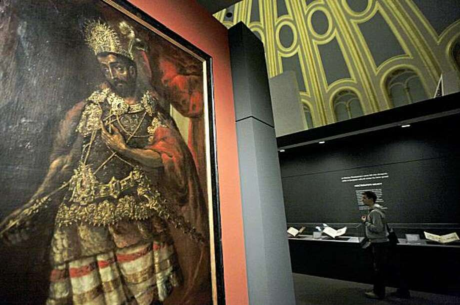 This Monday Sept. 21, 2009 photo shows a painting depicting Moctezuma II, the last elected Aztec Emperor that reigned between 1502-1520 at the exhibition entitled: 'Moctezuma: Aztec Ruler' that will run from Sept 24, to Jan. 24, 2010, in central London's British Museum, Monday Sept. 21, 2009. Loans of material from Mexico and Europe will be displayed and according to the museum, this is the first exhibition to examine the semi-mythical statues of the ruler and his legacy. (AP Photo/Lefteris Pitarakis) Photo: Lefteris Pitarakis, AP