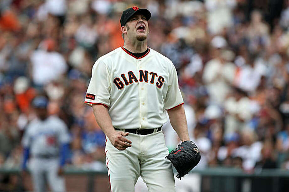 Brad Penny reacts during the fourth inning against the Los Angeles Dodgers at AT&T Park on Sunday. Photo: Jed Jacobsohn, Getty Images
