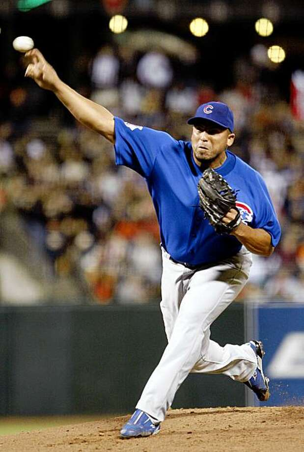 Chicago Cubs' Carlos Zambrano works against the San Francisco Giants in the first inning of a baseball game Friday, Sept. 25, 2009, in San Francisco. (AP Photo/Ben Margot) Photo: Ben Margot, AP