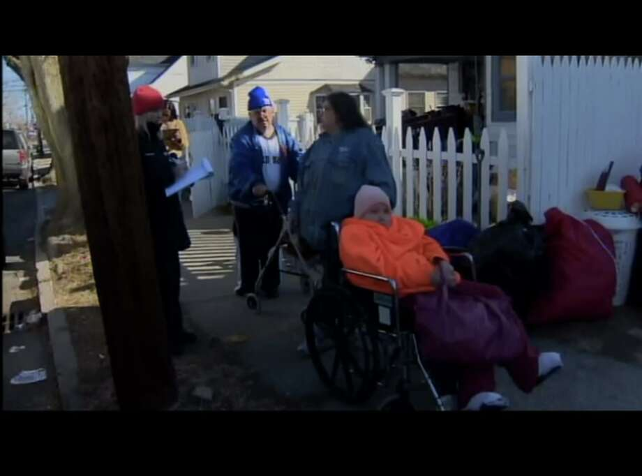 WTNH screencap of three roommates — Lisa Flack, Ruth Bihary and Chuck Wiberg — evicted Thursday with nowhere to go.