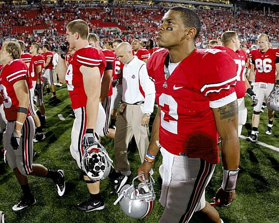 COLUMBUS, OH - SEPTEMBER 13:  Terrelle Pryor #2 of the Ohio State Buckeyes leaves the field after losing 18-15 to the Southern California Trojans on September 13, 2009 at Ohio Stadium in Columbus, Ohio.  (Photo by Gregory Shamus/Getty Images) Photo: Gregory Shamus, Getty Images