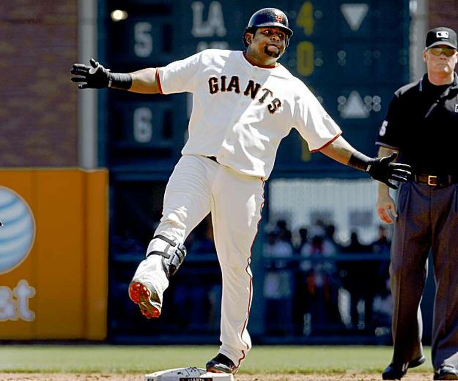 The Giants Pablo Sandoval reacts to his double which scored the Giants second run Sunday. Giants vs. San Diego Padres at AT&T Park Monday September 7, 2009. Photo: Brant Ward, The Chronicle
