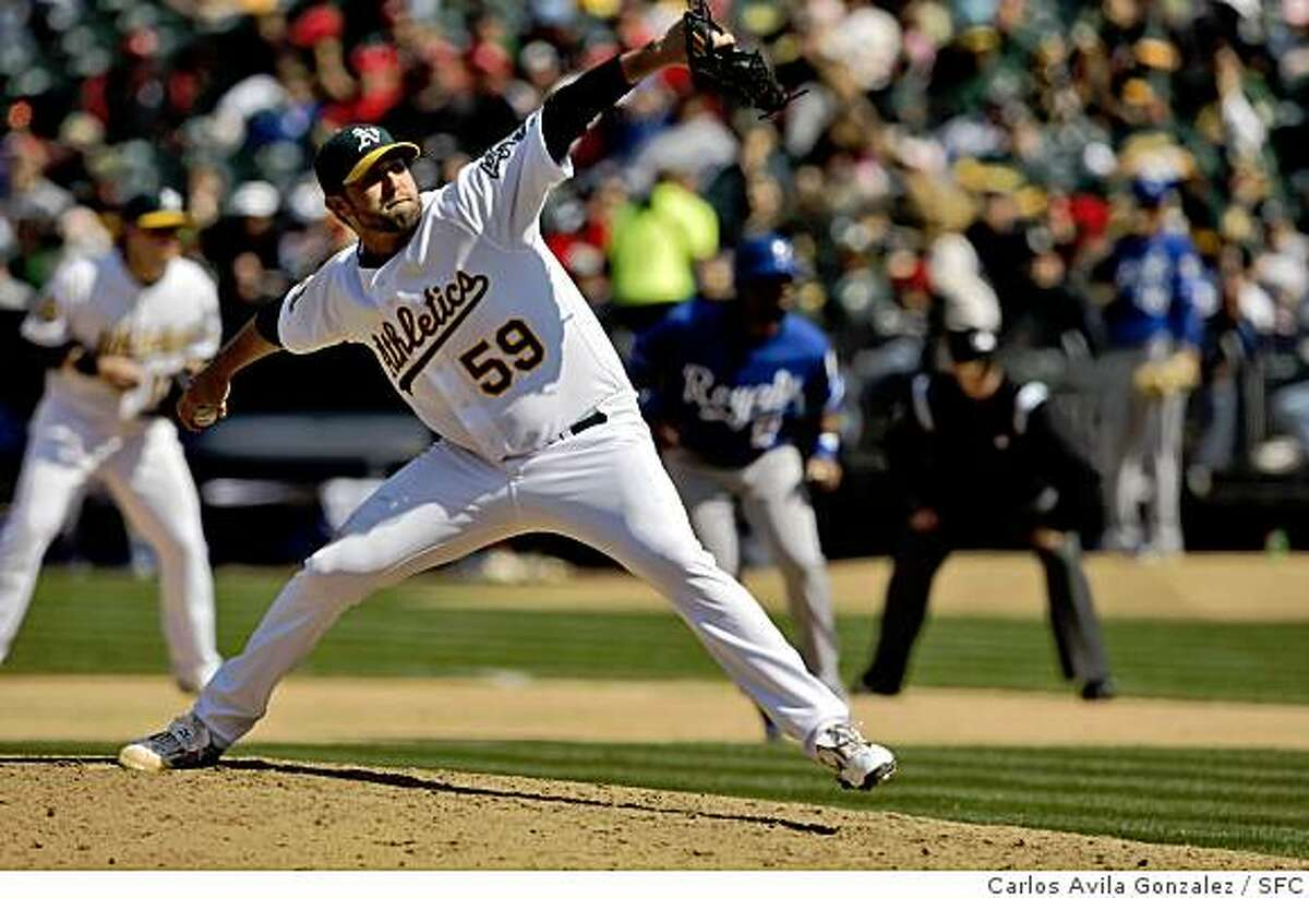 Oakland pitcher, Andrew Brown, came in for 2 1/3 innings of relief. The Oakland Athletics played the Kansas City Royals at McAfee Coliseum in Oakland, Calif., on Sunday, April 20, 2008. The Athletics won the game, 7-1.Photo by Carlos Avila Gonzalez / San Francisco Chronicle