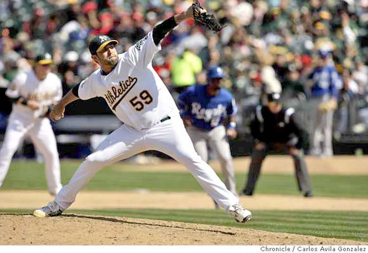 ###Live Caption:Oakland pitcher, Andrew Brown, came in for 2 1/3 innings of relief. The Oakland Athletics played the Kansas City Royals at McAfee Coliseum in Oakland, Calif., on Sunday, April 20, 2008. The Athletics won the game, 7-1. Photo by Carlos Avila Gonzalez / San Francisco Chronicle###Caption History:Oakland pitcher, Andrew Brown, came in for 2 1/3 innings of relief. The Oakland Athletics played the Kansas City Royals at McAfee Coliseum in Oakland, Calif., on Sunday, April 20, 2008. The Athletics won the game, 7-1. Photo by Carlos Avila Gonzalez / San Francisco Chronicle###Notes:Notes, Contacts, Name CQ's here###Special Instructions:MANDATORY CREDIT FOR PHOTOG AND SAN FRANCISCO CHRONICLE/NO SALES-MAGS OUT
