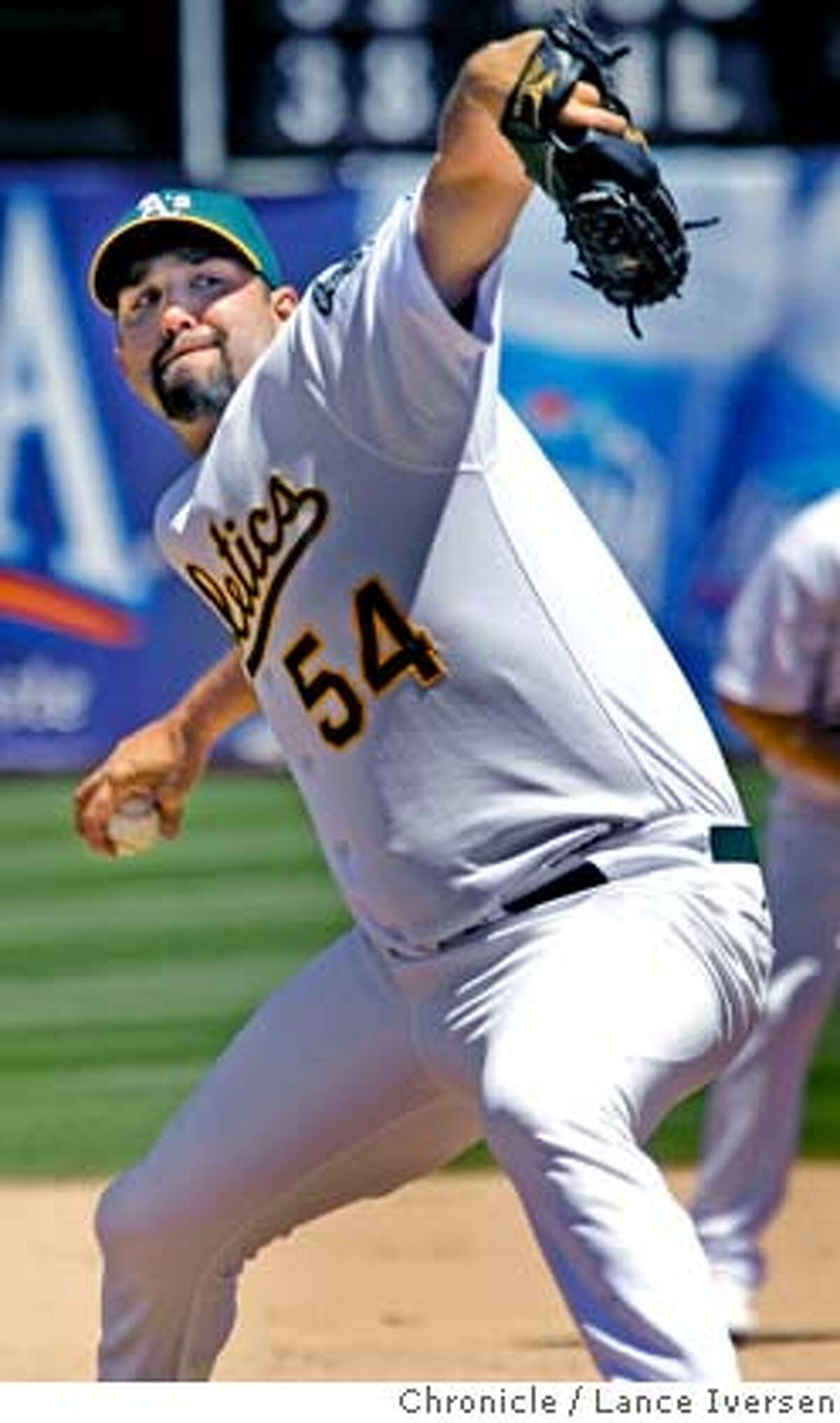 ATHLETICS_53897.JPG A's right hand pitcher Andrew Brown replaced starter Dallas Braden to get the save and win. The Oakland Athletics defeated The Detroit Tigers 3-2. (AUG1) Lance Iversen/The Chronicle (cq) SUBJECT 8/1/07,in OAKLAND. CA.