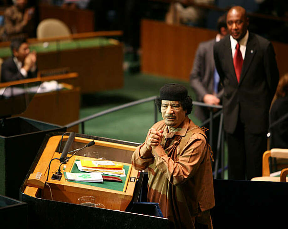Libyan leader Moammar Gadhafi during his address before the General Assembly of the United Nations, Wednesday, Sept. 23, 2009. In his first U.N. appearance, Gadhafi issued a slashing attack on the Security Council and chastised the world body on Wednesday for failing to prevent some 65 wars since the U.N. was founded in 1945. (Todd Heisler/The New York Times) Photo: Todd Heisler, NYT