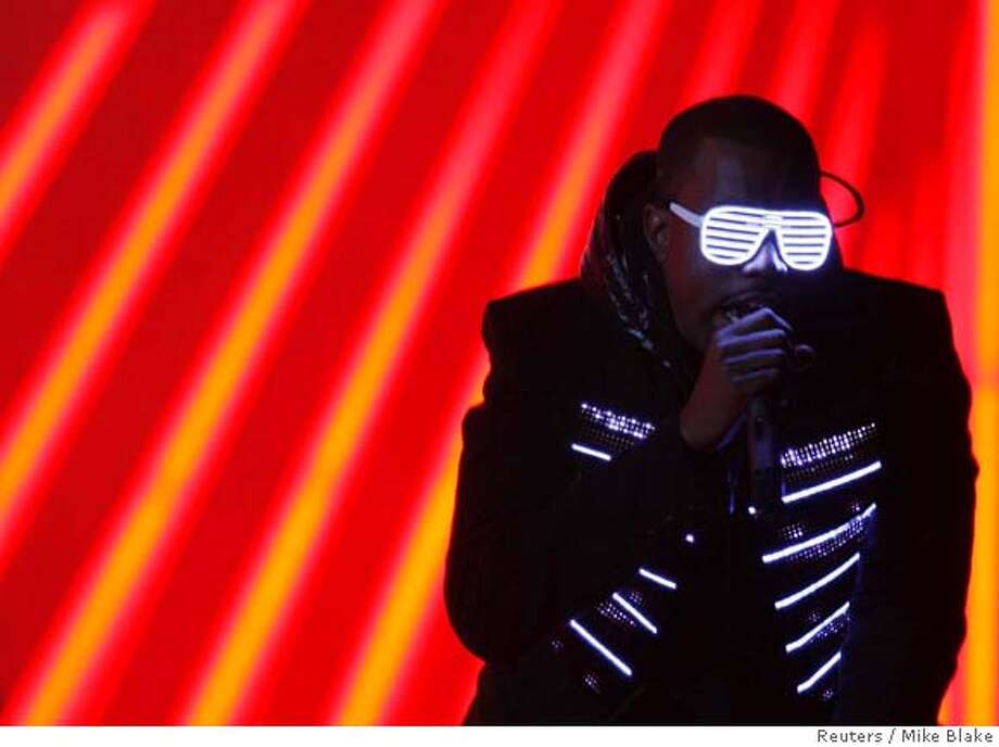 "Kanye West performs ""Stronger"" at the 50th Annual Grammy Awards in Los Angeles February 10, 2008. REUTERS/Mike Blake (UNITED STATES)  Ran on: 02-11-2008  Kanye West performs &quo;Stronger,&quo; which won the Grammy for best rap solo performance. West won three more Grammys Sunday night. Photo: MIKE BLAKE"
