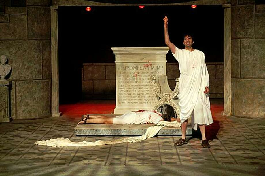"Barry Kraft as the murdered Caesar and William Elsman as Mark Antony in Marin Shakespeare Company's ""Julius Caesar"" Photo: Morgan Cowin"