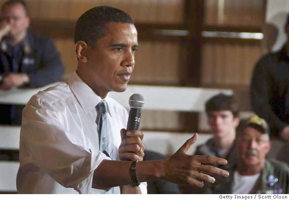 ###Live Caption:SOUTH BEND, IN - MAY 1: Democratic presidential hopeful Sen. Barack Obama (D-IL) addresses supporters at a town hall style meeting at the St. Joseph County Fairgrounds May 1, 2008 in South Bend, Indiana. Voters in Indiana and North Carolina go to the polls May 6. (Photo by Scott Olson/Getty Images)###Caption History:SOUTH BEND, IN - MAY 1: Democratic presidential hopeful Sen. Barack Obama (D-IL) addresses supporters at a town hall style meeting at the St. Joseph County Fairgrounds May 1, 2008 in South Bend, Indiana. Voters in Indiana and North Carolina go to the polls May 6. (Photo by Scott Olson/Getty Images)###Notes:Barack Obama Campaigns In South Bend###Special Instructions: Photo: Scott Olson
