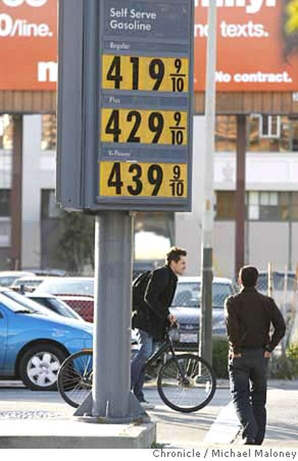 ###Live Caption:With gas prices inching up, commuting by two wheels makes more sense for many in the bay area. Gas prices for regular gas is over $4.00 per gallon at many bay area stations including this one at Fifth and Folsom Streets in San Francisco, Calif., on April 15, 2008. Photo by Michael Maloney / San Francisco Chronicle###Caption History:With gas prices inching up, commuting by two wheels makes more sense for many in the bay area. Gas prices for regular gas is over $4.00 per gallon at many bay area stations including this one at Fifth and Folsom Streets in San Francisco, Calif., on April 15, 2008. Photo by Michael Maloney / San Francisco Chronicle###Notes:###Special Instructions:MANDATORY CREDIT FOR PHOTOG AND SAN FRANCISCO CHRONICLE/NO SALES-MAGS OUT Photo: Michael Maloney