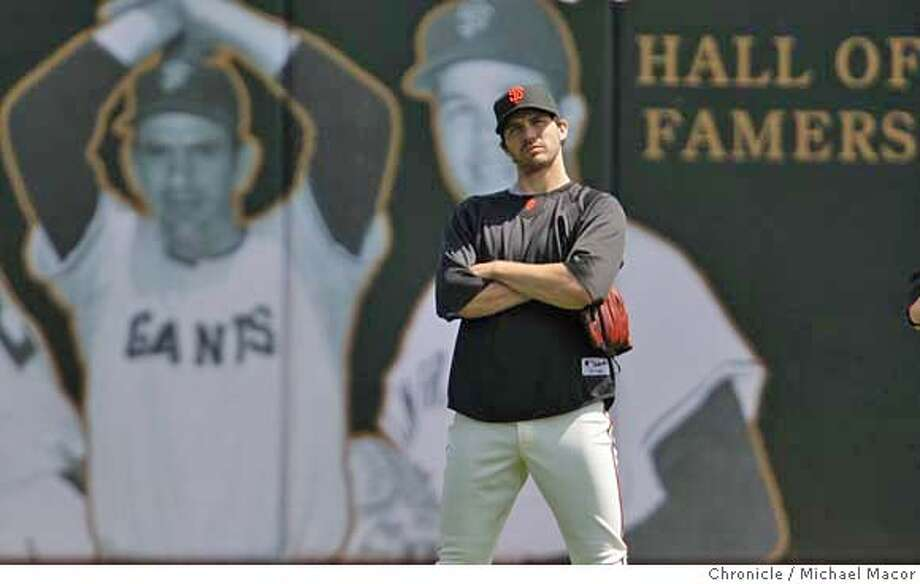 ###Live Caption:San Francisco Giants pitcher Barry Zito stands in the outfield during warm ups before the start of the game against the Colorado Rockies on April 30, 2008, in San Francisco, Calif.  Photo by Michael Macor/ San Francisco Chronicle###Caption History:San Francisco Giants pitcher Barry Zito during pre-game warm ups before the start of the game against the Colorado Rockies on April 30, 2008, in San Francisco, Calif.  Photo by Michael Macor/ San Francisco Chronicle###Notes:###Special Instructions:Mandatory credit for Photographer and San Francisco Chronicle No sales/ Magazines Out Photo: Michael Macor