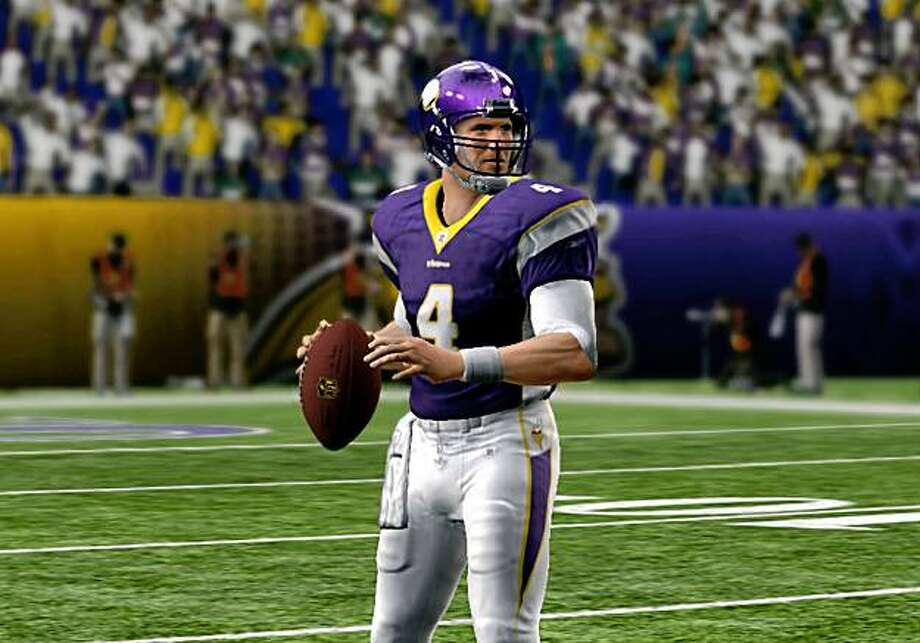 """In this video game image released by EA Sports, an image of NFL quarterback Brett Favre wearing a Minnesota Vikings uniform is shown from """"Madden NFL 10."""" (AP Photo/EA Sports) Photo: AP"""