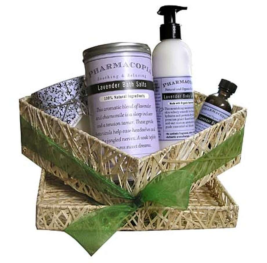 ###Live Caption:Lavender Spa Ritual set includes a lavender organic candle, bath salt, body lotion and massage oil. On sale for $49.99 at Pharmacopia's Spring Warehouse Sale (regular price $87). OLYMPUS DIGITAL CAMERA###Caption History:Lavender Spa Ritual set includes a lavender organic candle, bath salt, body lotion and massage oil. On sale for $49.99 at Pharmacopia's Spring Warehouse Sale (regular price $87).  OLYMPUS DIGITAL CAMERA###Notes:###Special Instructions: Photo: Ho