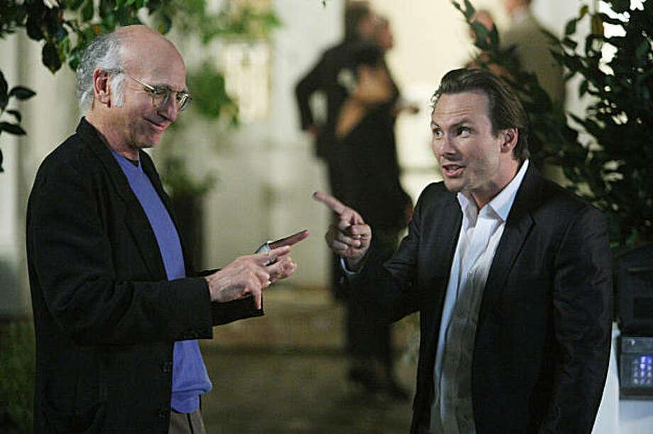 CURB YOUR ENTHUSIASM: Larry David, Christian Slater. Photo: Doug Hyun, HBO
