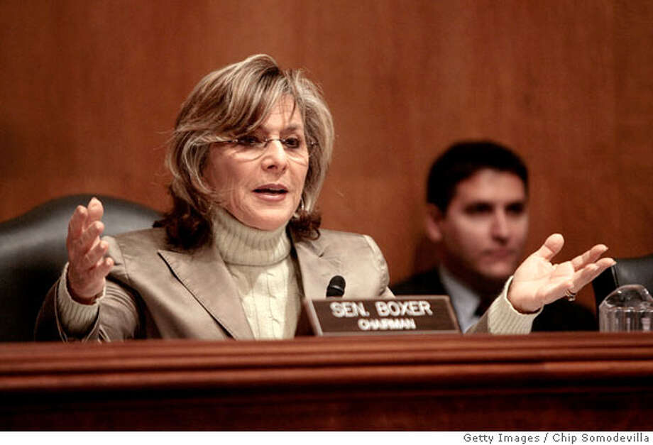 WASHINGTON - APRIL 02: U.S. Senate Environment and Public Works Committee Chairman Barbara Boxer (D-CA) questions witnesses during a hearing about the possible listing of the polar bear under the Endangered Species Act April 2, 2008 in Washington, DC. U.S. Interior Secretary Dirk Kempthorne was invited to testify but declined until he said he could provide more information regarding the listing of the polar bear as endangered. According to conservation groups, polar bears are threatened because their habitat, sea ice, is shrinking from global warming. (Photo by Chip Somodevilla/Getty Images) Photo: Chip Somodevilla