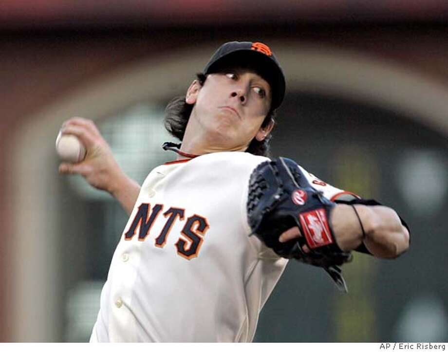 San Francisco Giants starting pitcher Tim Lincecum throws against the Colorado Rockies in the first inning of their baseball game in San Francisco, Tuesday, April 29, 2008.(AP Photo/Eric Risberg) Photo: Eric Risberg