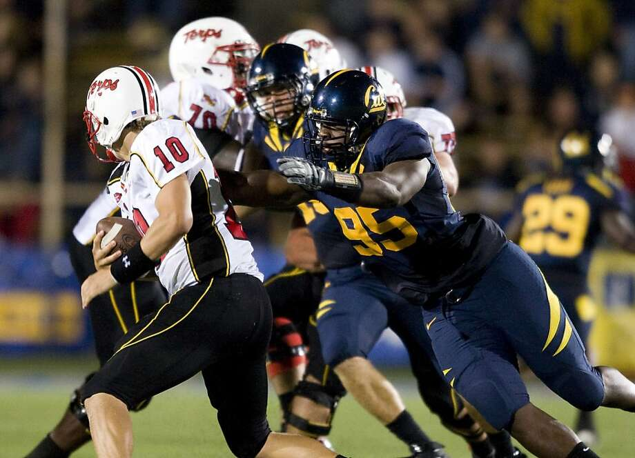 Sophomore defensive lineman Ernest Owusu (No. 95) had a good evening in the Maryland backfield. He had three tackles for a loss -- two were sacks. Photo: Courtesy Of GoldenBearSports.com