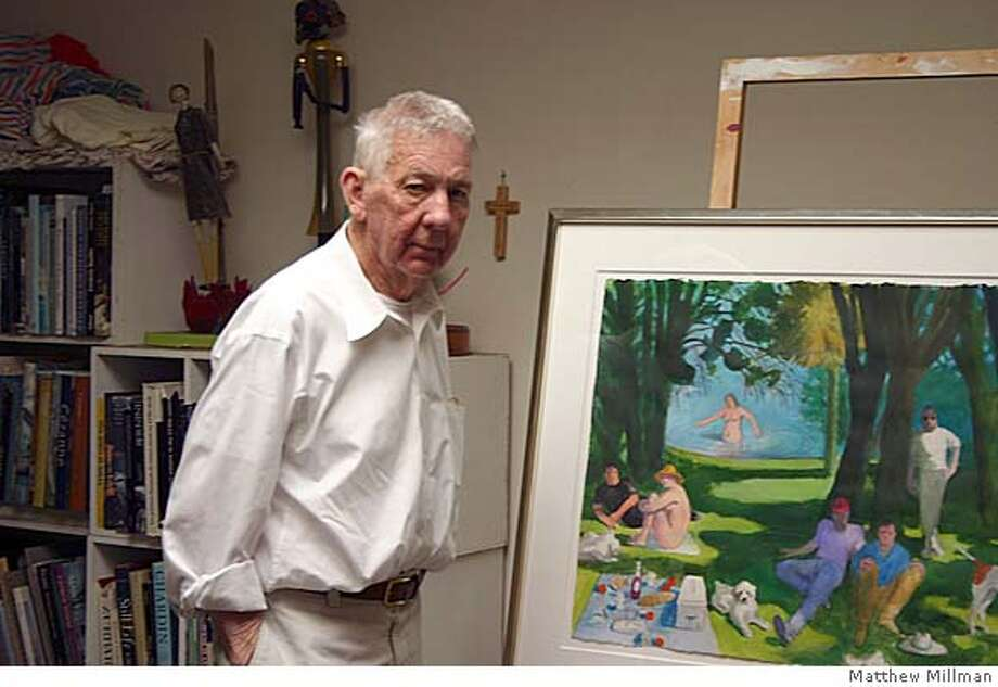 San Francisco painter Paul Wonner (1920-2008) in his studio in 2007. Ran on: 04-25-2008  Paul Wonner displays one of his works in his San Francisco studio last year. Photo: Matthew Millman