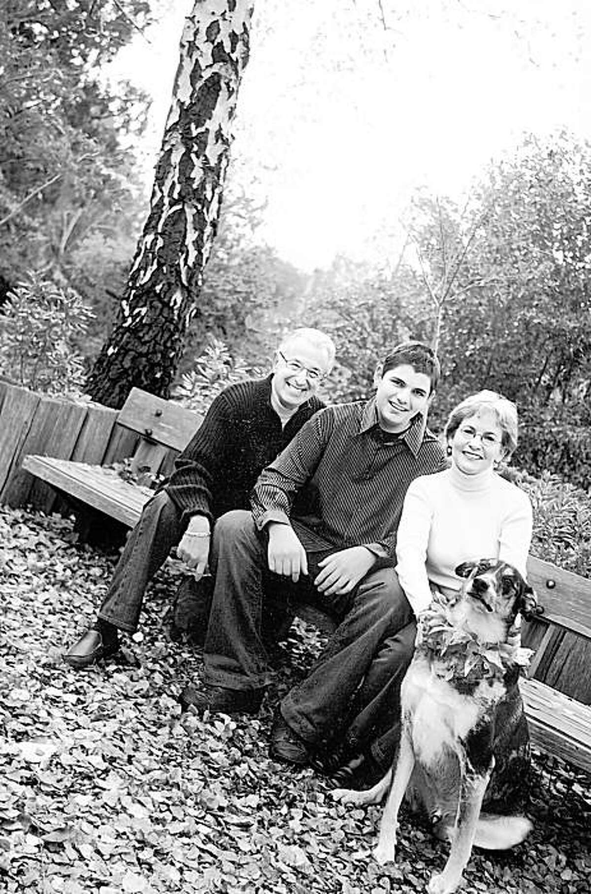 The Tompkins family visited the Marin Art and Garden Center in Ross in December 2008. From the left, Barry Tompkins, Ryan Tompkins, Joan Ryan and the family dog, Bill.