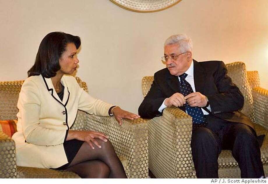 ###Live Caption:Palestinian President Mahmoud Abbas, right, meets with Secretary of State Condoleezza Rice, Wednesday, April 23, 2008, at his hotel in Washington. (AP Photo/J. Scott Applewhite)###Caption History:Palestinian President Mahmoud Abbas, right, meets with Secretary of State Condoleezza Rice, Wednesday, April 23, 2008, at his hotel in Washington. (AP Photo/J. Scott Applewhite)###Notes:Mahmoud Abbas, Condoleezza Rice###Special Instructions: Photo: J. Scott Applewhite