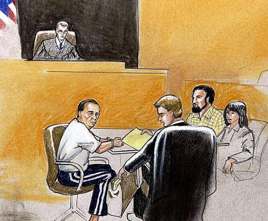 This courtroom drawing shows U.S. Magistrate Judge Craig Shaffer, top,  presiding over a hearing in federal court in Denver, on Monday, Sept. 21, 2009, for Najibullah Zazi and his father Mohammad Zazi. Seated at the defense table from left are Mohammad Zazi, Attorney Arthur Folsom, Najibullah Zazi and a unidentified member of the defense team. Counterterrorism officials are warning mass transit systems around the nation to step up patrols because of fears Najibullah Zazi , an Afghanistan-born immigrant under arrest in Colorado may have been plotting to detonate backpack bombs aboard New York City trains. (AP Photo/Jeff Kandby) Photo: Jeff Kandyba, AP