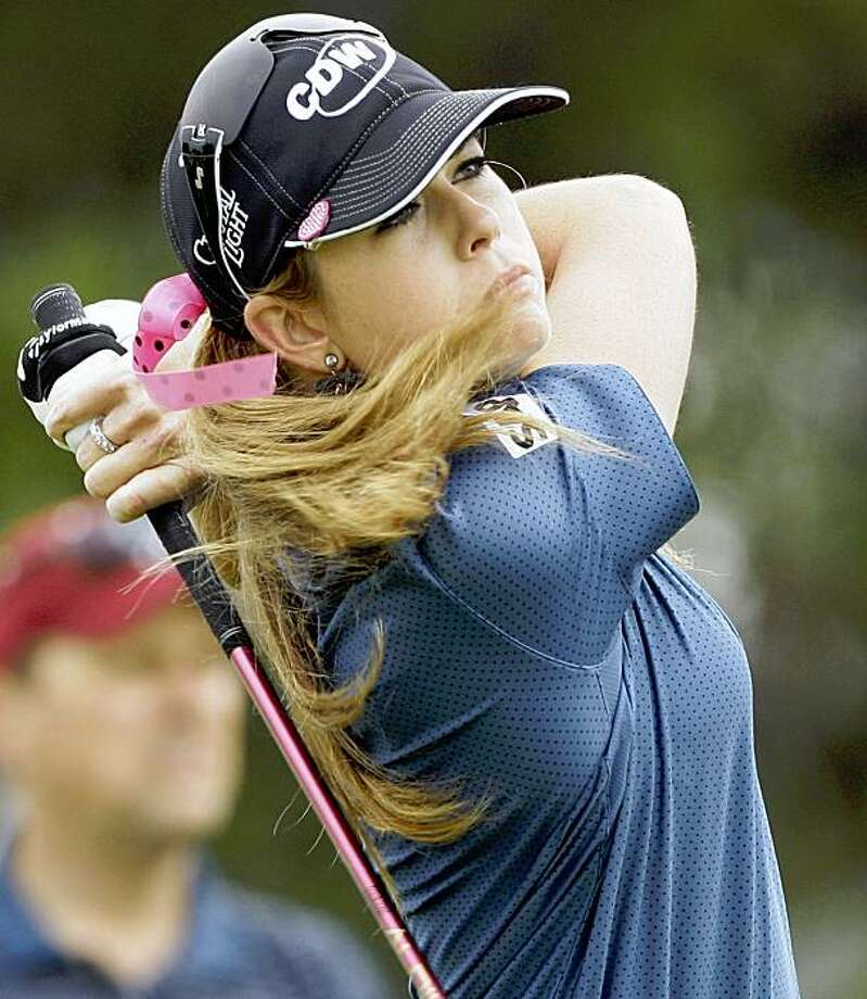 Paula Creamer tees off on second hole during the third round of the LPGA Samsung World Championship golf tournament on the Torrey Pines south course in San Diego on Saturday, Sept. 19, 2009.  (AP Photo/Reed Saxon) Photo: Reed Saxon, AP