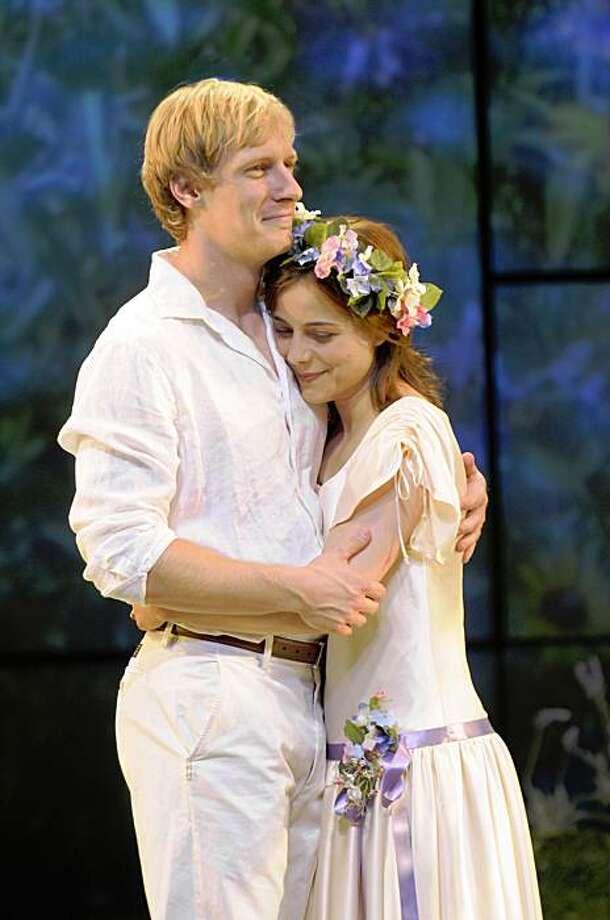 "Rosalind (Anna Bullard, right) gets her man, Orlando (Blake Ellis)  in San Jose Rep's ""As You Like It"" Photo: Kevin Berne"