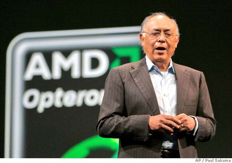 Advanced Micro Devices Inc. CEO Hector Ruiz delivers his keynote at the Oracle Open World conference in San Francisco, Monday, Nov. 12, 2007. AMD is expected to release quarterly earnings on Thursday, Jan. 17, 2008. (AP Photo/Paul Sakuma) Photo: Paul Sakuma