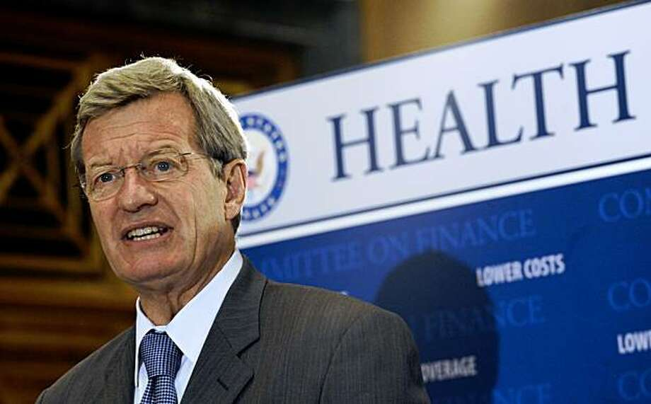 Senate Finance Committee Chairman Sen. Max Baucus, D-Mont. speaks to reporters during a news conference on health care legislation, Wednesday, Sept. 16, 2009, Capitol Hill in Washington. (AP Photo/Susan Walsh) Photo: Susan Walsh, AP