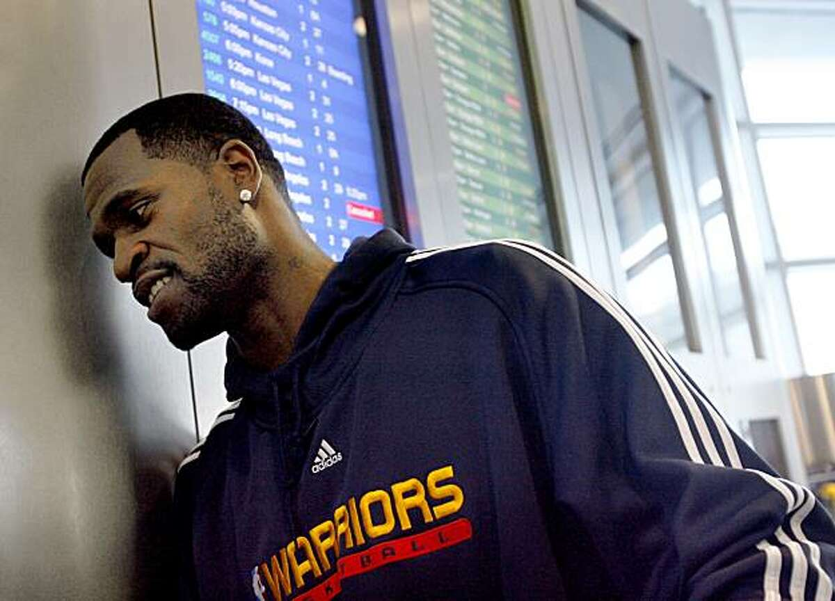 Stephen Jackson of the Golden State Warriors takes a moment to talk about his life after greeting third graders from his hometown of Port Arthur, Texas as they exited a Southwest Airlines flight in Oakland, Calif. on Monday, February 25, 2008. The kids won a contest put on by the Warriors, and they will be guests of the Warriors for a game and a tour of the town. Photo by Katy Raddatz / San Francisco Chronicle