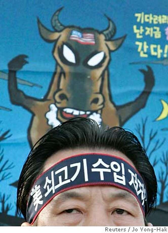 ###Live Caption:A protester wearing a headband, which reads 'Block U.S. beef imports', takes part in a rally denouncing U.S. beef imports in front of the Integrated Government Complex in Gwacheon, south of Seoul, April 18, 2008. South Korea agreed on Friday to open its market to U.S. beef, boosting prospects for a sweeping trade deal, ahead of a Camp David summit between leaders of the two allies later in the day. REUTERS/Jo Yong-Hak (SOUTH KOREA)###Caption History:A protester wearing a headband, which reads 'Block U.S. beef imports', takes part in a rally denouncing U.S. beef imports in front of the Integrated Government Complex in Gwacheon, south of Seoul, April 18, 2008. South Korea agreed on Friday to open its market to U.S. beef, boosting prospects for a sweeping trade deal, ahead of a Camp David summit between leaders of the two allies later in the day. REUTERS/Jo Yong-Hak (SOUTH KOREA)###Notes:A protester takes part in a rally denouncing U.S. beef imports in front of Integrated Government Complex in Gwacheon###Special Instructions:0 Photo: JO YONG-HAK