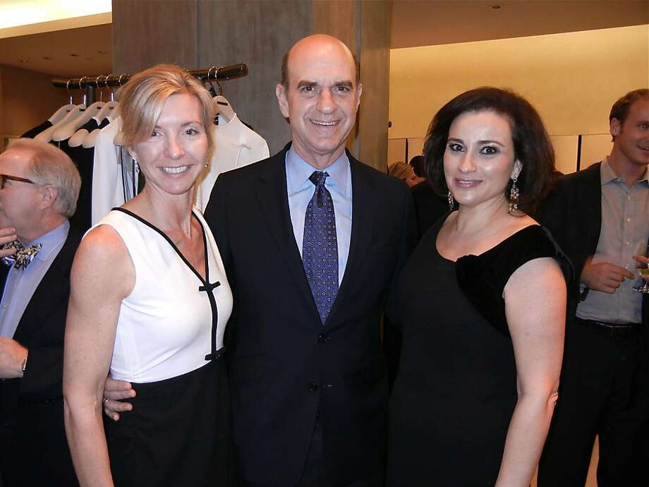 Modern Ball Committee member Janet Barnes (left) with SFMOMA Board President Bob Fisher and Modern Ball Chairwoman Dolly Chamas at the Girogio Armani kick-off party. Feb. 2012. By Catherine Bigelow. Photo: Catherine Bigelow, Special To The Chronicle