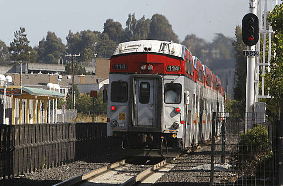 Horns on the top middle of a Caltrain car  station heading southbound from the Belmont station on Tuesday, September 8, 2009. Photo: Liz Hafalia, The Chronicle