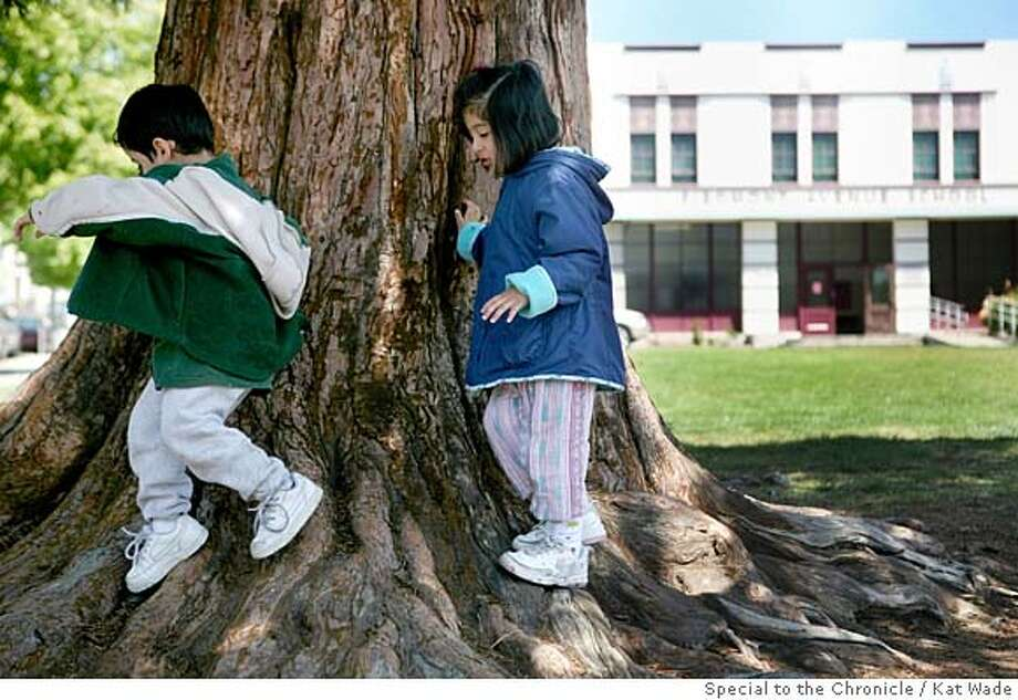 "###Live Caption:Gabriel Huajardo, 3, left, and Ana Huajardo, 5, who will be attending Piedmont Avenue Elementary School this fall, play on huge old redwood tree in front of the school that is an apparent ""kid magnet"" in Oakland, Calif. on Friday, April 25, 2008.  Photo by Kat Wade / Special to the Chronicle###Caption History:Gabriel Huajardo, 3, left, and Ana Huajardo, 5, who will be attending Piedmont Avenue Elementary School this fall, play on huge old redwood tree in front of the school that is an apparent ""kid magnet"" in Oakland, Calif. on Friday, April 25, 2008.  Photo by Kat Wade / Special to the Chronicle###Notes:Ana Huajardo, 5, and Gabriel Huajardo, 3 (CQ, subject)  NOTES: The old redwood tree in front of {location } where first-grader Zachary Cataldo,7, had his skull was fractured, is a ""kid magnet"" according to Denise Huajardo the mother of the children pictu###Special Instructions:Mandatory Credit for photographer and S.F. CHRONICLE/No Sales - mags out Photo: Kat Wade"