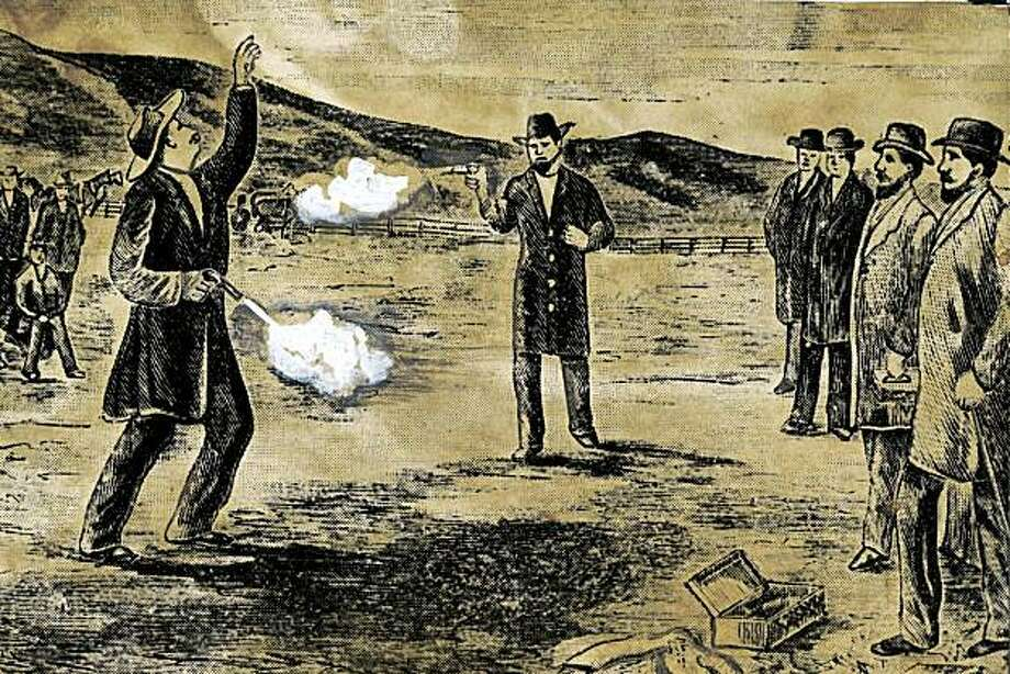 Undated drawing of the famous duel between Senator David Broderick and Judge David Terry that took place on Sept. 13, 1859 in San Francisco. Photo: AP