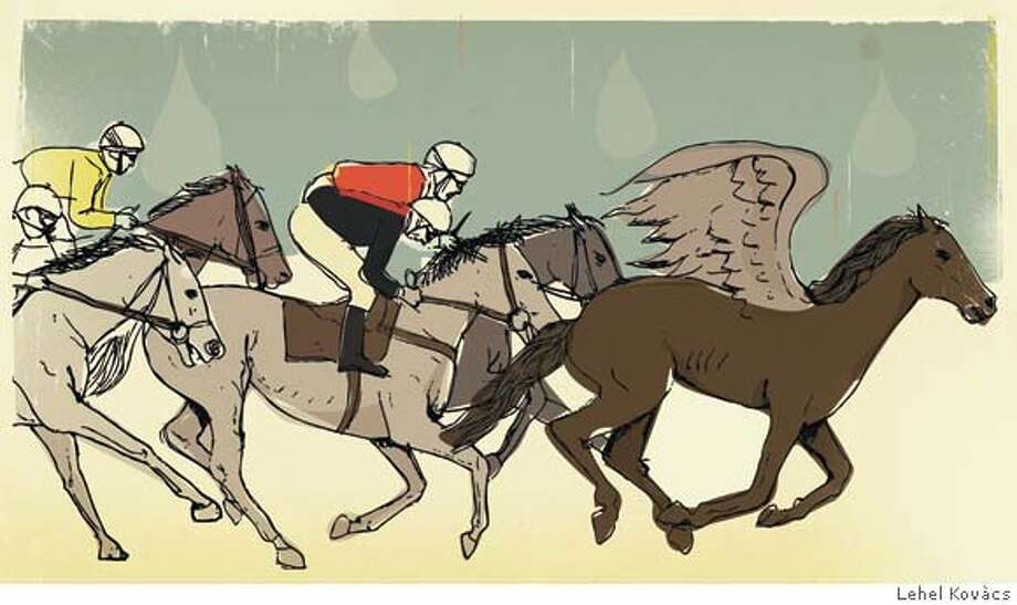 """Illustration for MY WORD essay on a father's racehorse running in 4/20/08 issue of Sunday magazine; FIRST REPRO RIGHTS ONLY; OK to post on sfgate with article  Illustration by Lehel Kov�cs for MY WORD essay. """"Papou's Dream"""" about the race horse who represented the dream of her father; running in 4/6/08 issue of Sunday Magazine; FIRST REPRO RIGHTS ONLY: OK to post on sfgate with article Photo: Lehel Kovacs Lehel Kov�cs"""