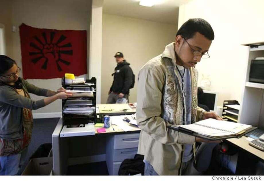 ###Live Caption:Christopher Timbo` Temblador (right) looks over his calendar while at work at the Cesar E. Chavez Community Action Center on Monday April 14, 2008 in San Jose, Calif. The voter registration group Voto Latino is teaming up with the Hispanic-oriented English-language entertainment network S'TV to embed two youthful Latinos as reporters covering the Democratic and Republican conventions this summer. Christopher Timbo` Temblador hopes to be embeded at the Democratic National Convention.  .Photo By Lea Suzuki/ San Francisco Chronicle###Caption History:Christopher Timbo` Temblador (right) looks over his calendar while at work at the Cesar E. Chavez Community Action Center on Monday April 14, 2008 in San Jose, Calif. The voter registration group Voto Latino is teaming up with the Hispanic-oriented English-language entertainment network S�TV to embed two youthful Latinos as reporters covering the Democratic and Republican conventions this summer. Christopher Timbo` Temblador hopes to be embeded at the Democratic National Convention.  .Photo By Lea Suzuki/ San Francisco Chronicle###Notes:Christopher Timbo' Temblador###Special Instructions:�2008, San Francisco Chronicle/ Lea Suzuki  MANDATORY CREDIT FOR PHOTOG AND SAN FRANCISCO CHRONICLE. NO SALES- MAGS OUT. Photo: Lea Suzuki