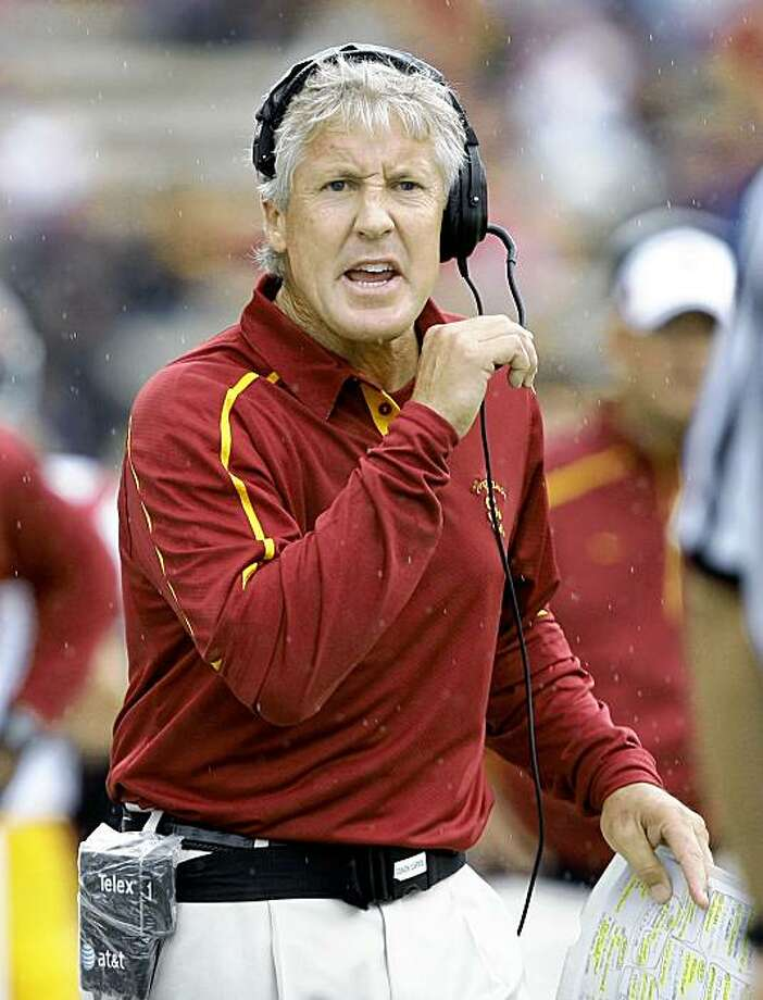 Southern California coach Pete Carroll stands on the sidelines in the first half of an NCAA college football game against Washington on Saturday, Sept. 19, 2009, in Seattle. Washington won 16-13. (AP Photo/Elaine Thompson) Photo: Elaine Thompson, AP