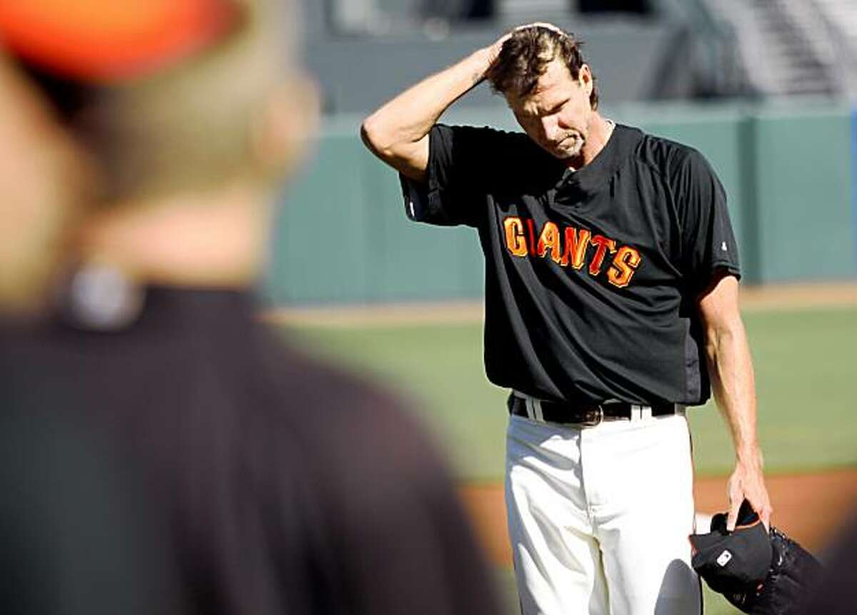San Francisco Giants pitcher Randy Johnson, who has been on the disabled list, comes off the mound, working two simulated innings prior to a game against the Colorado Rockies on Monday in San Francisco.