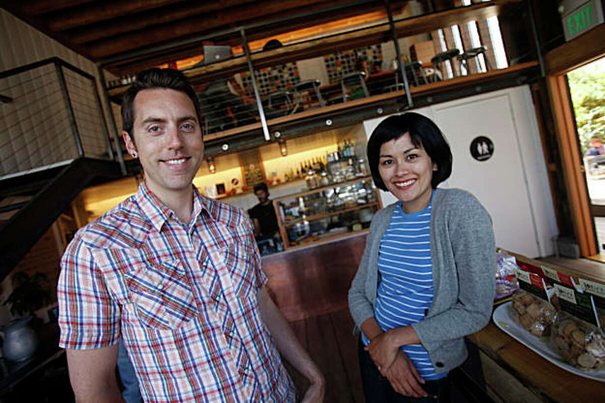 Derek Fagerstrom (l to r) and Lauren Smith, owners of The Curiosity Shoppe at855 Valencia street, photographed for an