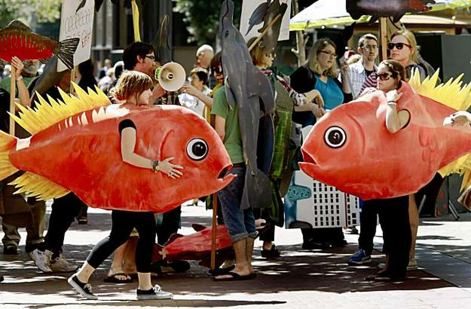 A pair of orange roughys walked around protesters as they waited on Market Street. Dozens of protesters from the Turtle island Restoration Network in West Marin County marched around the Hyatt Regency in San Francisco Thursday September 17, 2009 to demand cleaner waterways and an end to overfishing. Photo: Brant Ward, The Chronicle