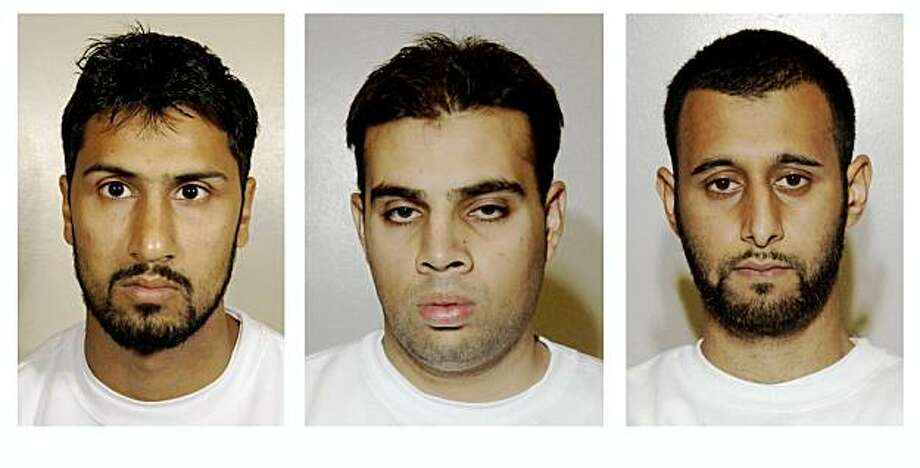 This is a 3-pic combo made from undated London Metropolitan Police photos, showing Abdulla Ahmed Ali, left; Assad Sarwar, centre, and Tanvir Hussain, right, who were convicted Monday, Sept. 7, 2009, of conspiring to kill thousands of civilians by blowing up trans-Atlantic flights in mid-air with liquid explosives disguised as soft drinks.  A jury at a London courthouse found Abdulla Ahmed Ali, 28, Assad Sarwar, 29, and Tanvir Hussain, 28, guilty of conspiracy to murder by detonating explosives on aircraft.  The trial started in February. The jury found that they were the ringleaders of a conspiracy to carry out the biggest terrorist attack since 9/11. (AP Photo/Metropolitan Police/PA)  **  UNITED KINGDOM OUT NO SALES NO ARCHIVE  ** Photo: Metropolitan Police, AP