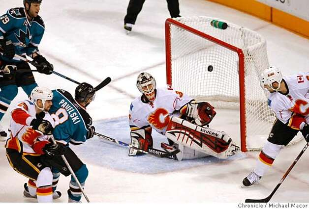 ###Live Caption:San Jose Sharks Joe Pavelski fires a goal to make it 4-2 San JOse in the second period, past Calgary Flames goalie Miikka Kiprusoff, as the San Jose Sharks take on the Calgary Flames in game seven of the quarfter final series, on April 22, 2008, in San Jose, Calif. at the Oracle Arena. Photo by Michael Macor/ San Francisco Chronicle###Caption History:San Jose Sharks Joe Pavelski fires a goal to make it 4-2 San JOse in the second period, past Calgary Flames goalie Miikka Kiprusoff, as the San Jose Sharks take on the Calgary Flames in game seven of the quarfter final series, on April 22, 2008, in San Jose, Calif. at the Oracle Arena. Photo by Michael Macor/ San Francisco Chronicle###Notes:NHL Stanley Cup playoffs the quarterfinals, San JOse sharks take on the Calgary Flames in game seven with the series tied at 3-3.###Special Instructions:Mandatory credit for Photographer and San Francisco Chronicle No sales/ Magazines Out Photo: Michael Macor