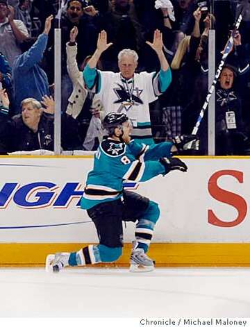 San Jose Sharks Joe Pavelski celebrates his second period goal in front of the Shark's fans. The San Jose Sharks host the Calgary Flames for game 7 of the NHL Western Conference Quarterfinals on April 22, 2008 at the HP Pavilion in San Jose, Calif. Photo by Michael Maloney / San Francisco Chronicle Ran on: 04-23-2008  Joe Pavelski has the fans roaring after his second-period goal put San Jose ahead 4-2 -- and put the Flames out of reach of the series win.  Ran on: 04-23-2008  Pavelski has the fans roaring after his second-period goal put San Jose ahead 4-2. Less than a minute later, with Curtis Joseph in goal for the Flames, Devin Setoguchi scored to extend the lead to 5-2. Photo: Michael Maloney
