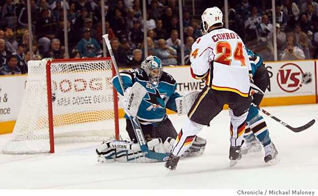 San Jose Sharks goalie Evgeni Nabokov saves a goal attempt by Calgary Flames Craig Conroy in the 1st period.  The San Jose Sharks host the Calgary Flames for game 7 of the NHL Western Conference Quarterfinals on April 22, 2008 at the HP Pavilion in San Jose, Calif. Photo by Michael Maloney / San Francisco Chronicle Ran on: 04-23-2008  Joe Pavelski has the fans roaring after his second-period goal put San Jose ahead 4-2 -- and put the Flames out of reach of the series win.  Ran on: 04-23-2008  Pavelski has the fans roaring after his second-period goal put San Jose ahead 4-2. Less than a minute later, with Curtis Joseph in goal for the Flames, Devin Setoguchi scored to extend the lead to 5-2. Photo: Michael Maloney